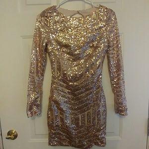 Lolita Rose gold long sleeved sequin dress